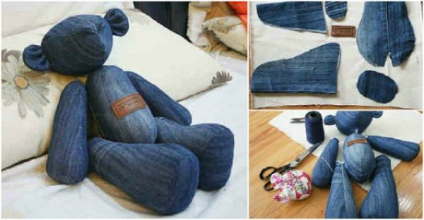 DIY Cute Jean Teddy Bear Free Sew Pattern & Template