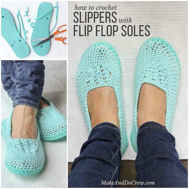 DIY Crochet Slipper with Flip Flop Sole Pattern Free Tutorial