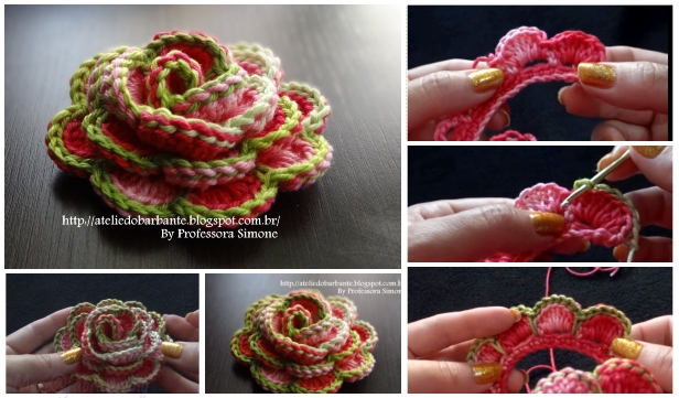 Crochet 3D Rose Flower In Bloom Free Crochet Pattern - Video