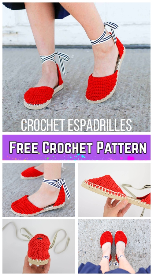 Crochet Espadrilles Shoes with Flip Flop Sole Free Pattern