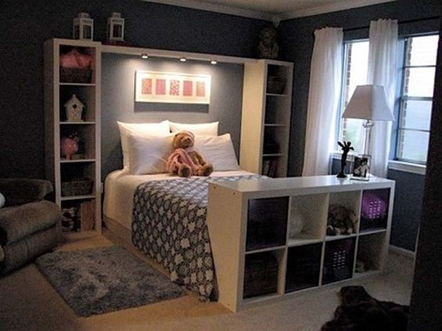 20 Cube Organizer DIY Ideas To De-clutter Your Whole House-Bed End Storage