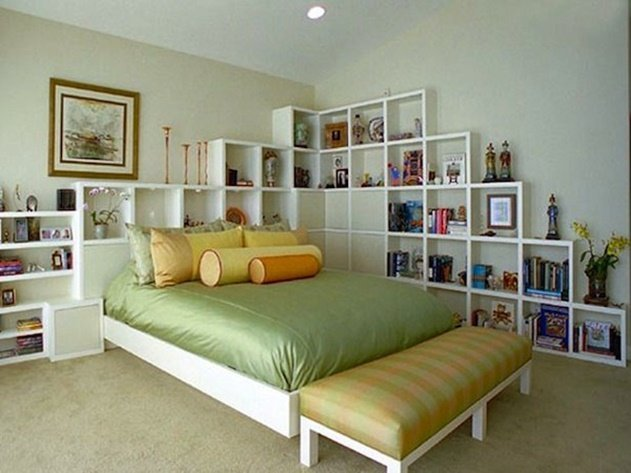 20 Cube Organizer DIY Ideas To De-clutter Your Whole House-Cube Headboard Shelf