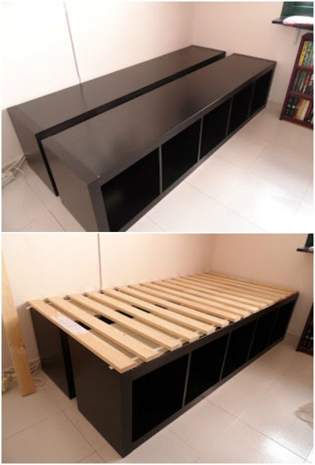 20 Cube Organizer DIY Ideas To De-clutter Your Whole House-Cube Unit Shelf Bed Frame
