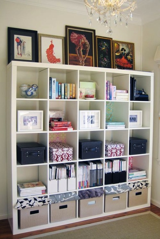 20 Cube Organizer DIY Ideas To De-clutter Your Whole House-Office wall shelving
