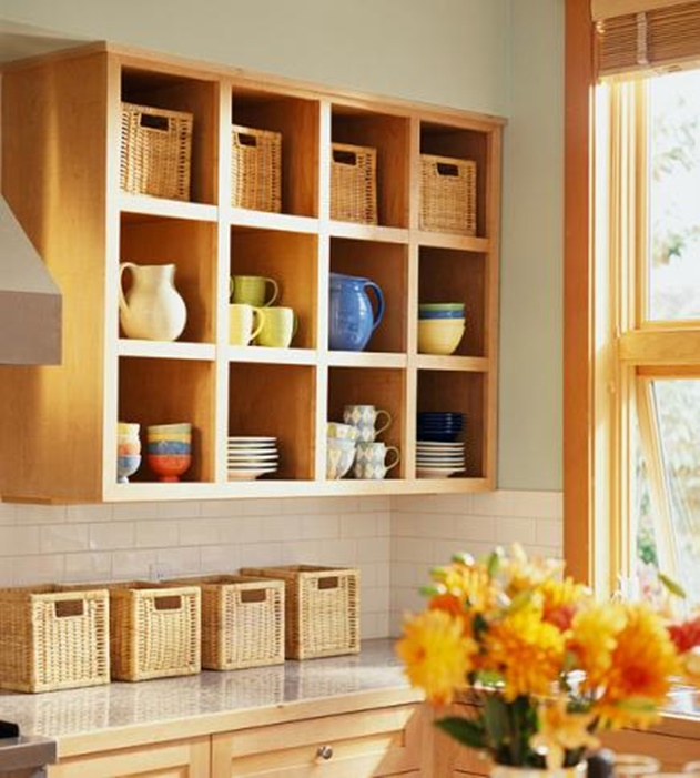 20 Cube Organizer DIY Ideas To De-clutter Your Whole House-Open Wall Kitchen Cabinet