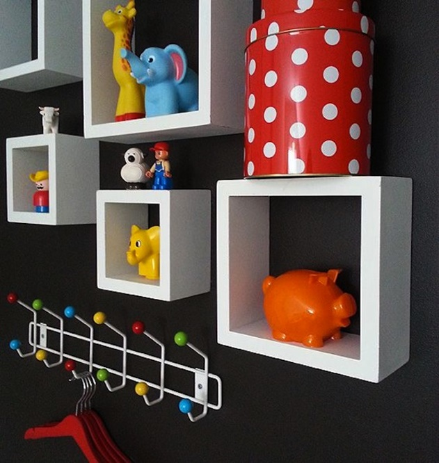 20 Cube Organizer DIY Ideas To De-clutter Your Whole House-Wall Cube Toy Display
