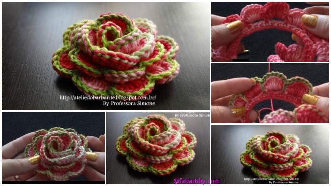 Crochet 3D Rose Flower In Bloom Free Pattern