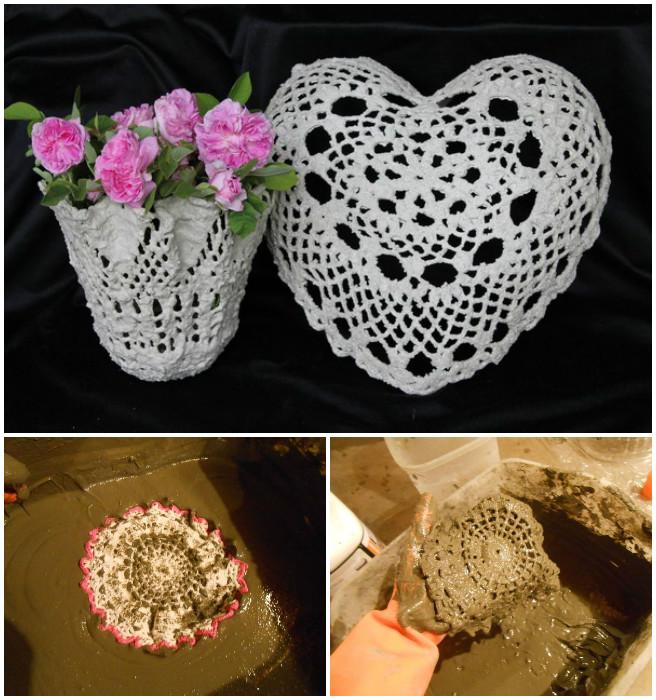 DIY Cement Lace Doily Planter Tutorial