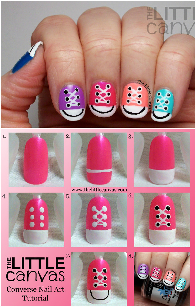 DIY Converse Nail Art Design Manicure Ideas and Tutorials-Pink - DIY Converse Nail Art Design Ideas And Tutorials