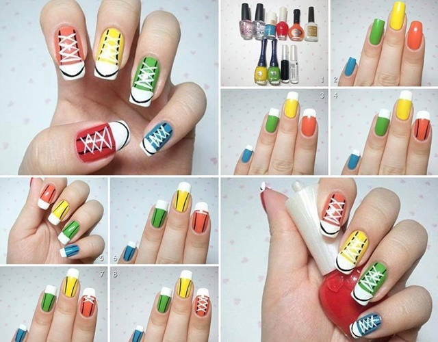 2e240c1e181b DIY Converse Nail Art Design Manicure Ideas and Tutorials-Rainbow