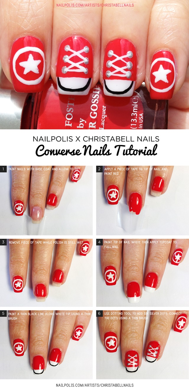 26e62f27e912 DIY Converse Nail Art Design Manicure Ideas and Tutorials-Red