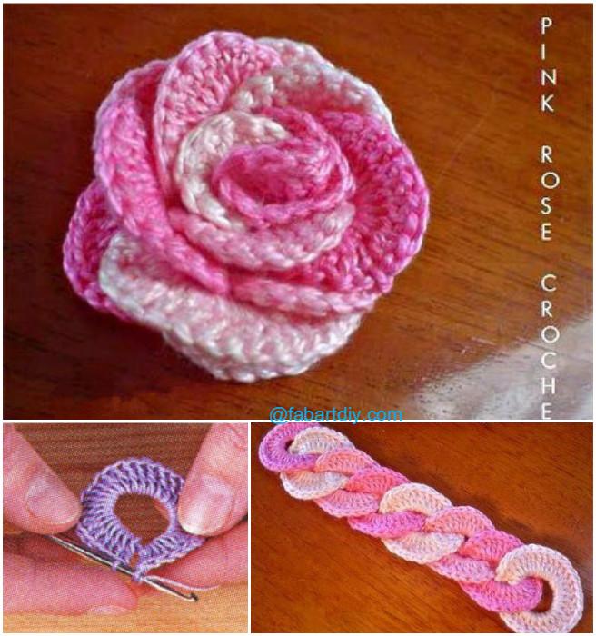 Crochet Rose Pattern Online : Crochet Interlocking Rose Flower Free Pattern