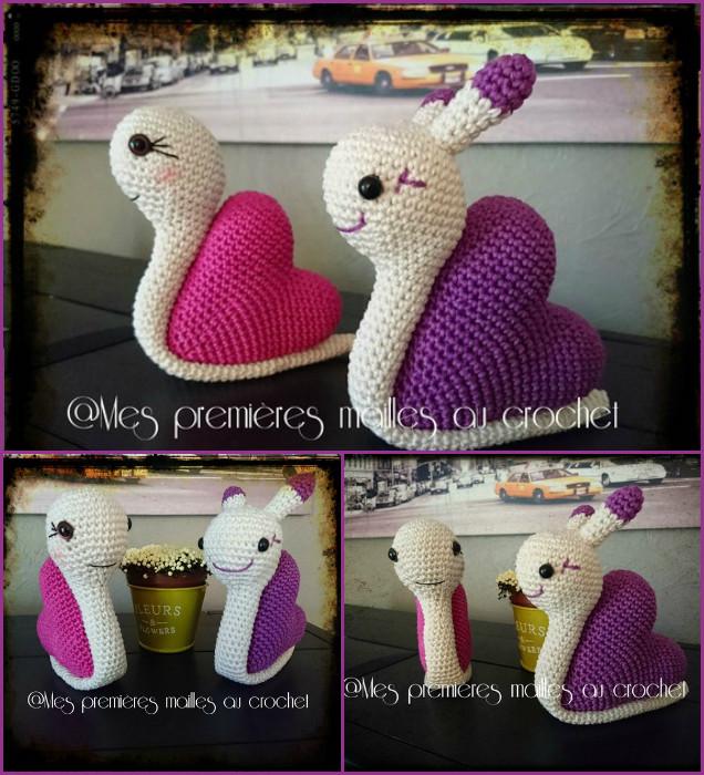 DIY Crochet Snail Amigurumi Free Patterns - Crochet Valentine Heart Snails