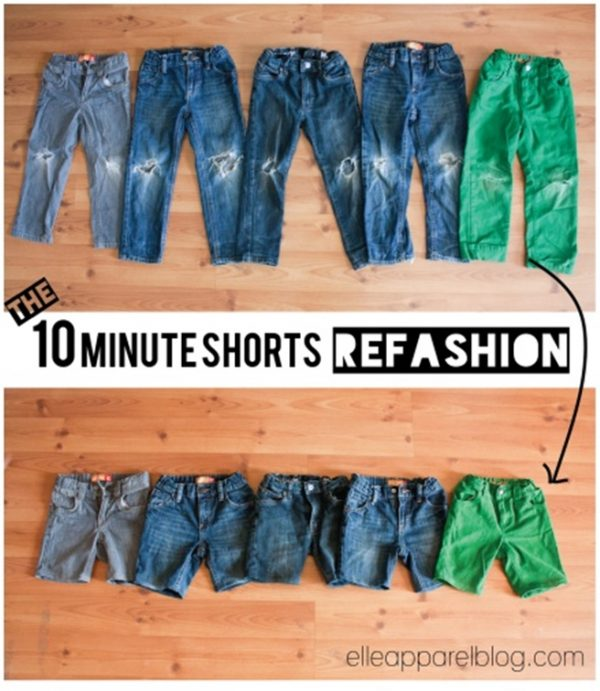10 Minutes DIY Refashion Jeans into Cuffed Cut Off Jean Shorts Tutorial