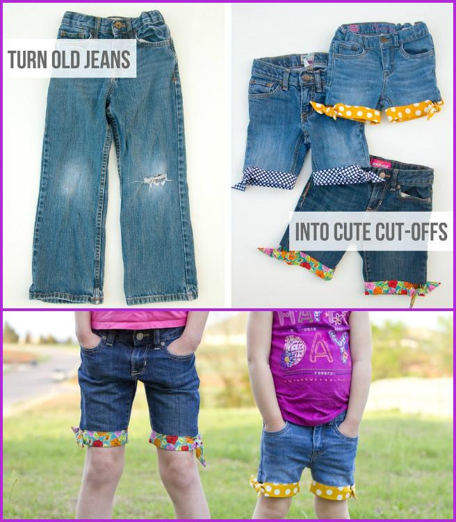DIY Cuffed Cut Off Jean Shorts for Kids Tutorial