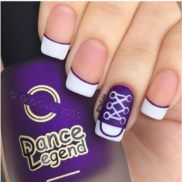 323c19db3dc943 DIY Purple Converse Nail Art Design Manicure Tutorial