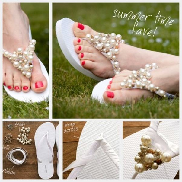 DIY Summer Flip Flop Makeover Ideas Tutorials - DIY Beaded Flip Flops