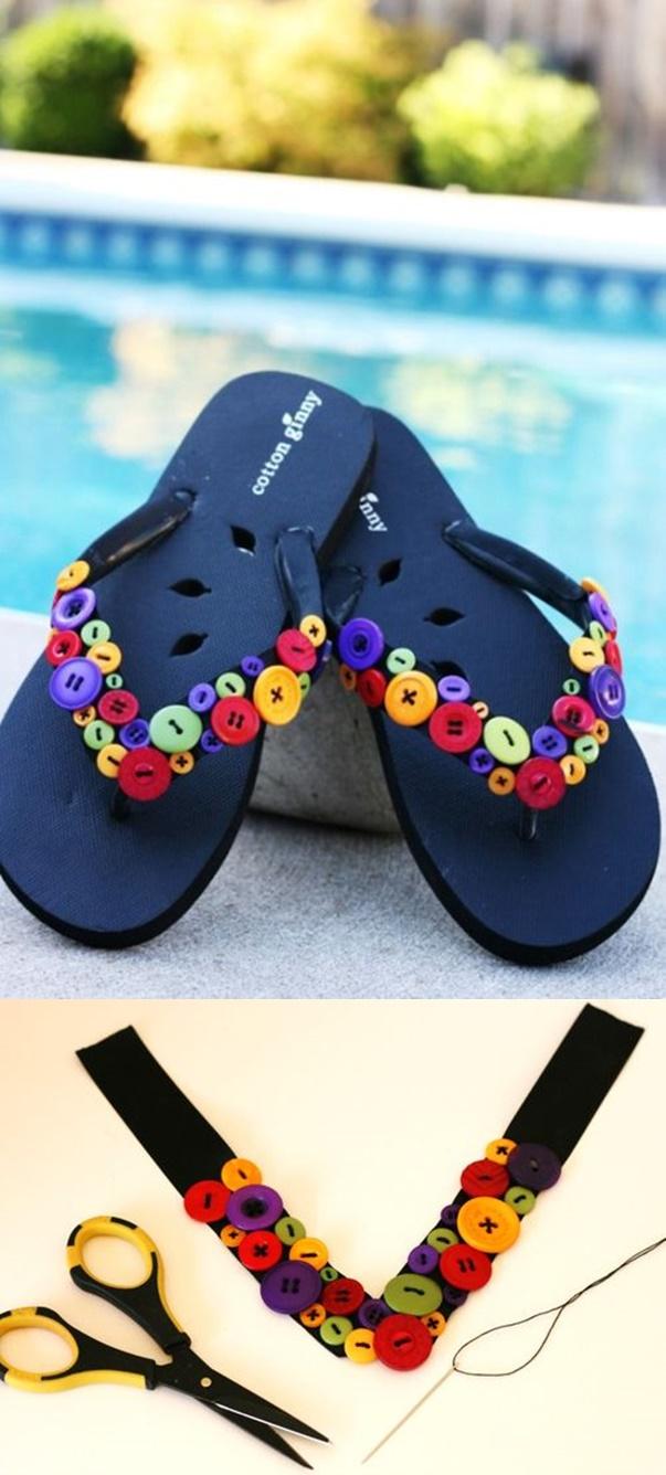 DIY Summer Flip Flop Makeover Ideas Tutorials - DIY Button Flip-Flops