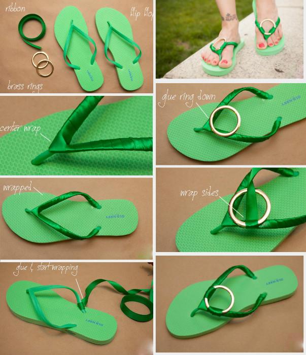 DIY Summer Flip Flop Makeover Ideas Tutorials - DIY Ribbon Flip Flops