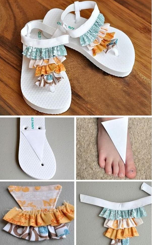 DIY Summer Flip Flop Makeover Ideas Tutorials - DIY Ruffled Flip Flops