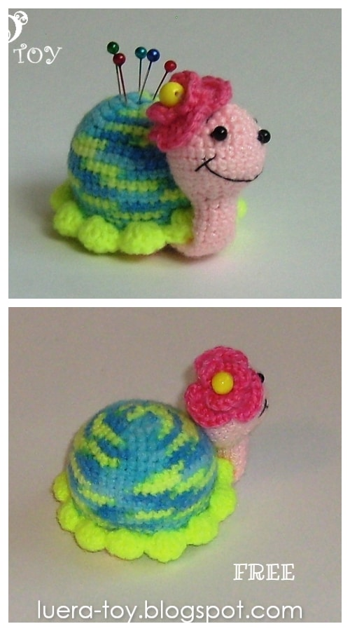 DIY Crochet Snail Amigurumi Free Patterns- Snail Pin Cushion