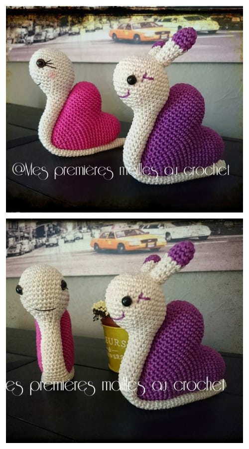 DIY Crochet Heart Snail Amigurumi Free Patterns
