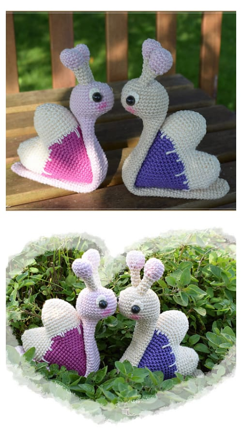 DIY Crochet Heart Snail Amigurumi Patterns