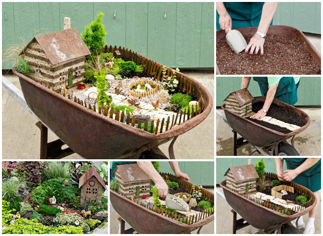 Fairy Garden Ideas Diy arlene brennemans tiny house centers the miniaturel garden Diy Miniature Wheel Barrow Fairy Garden Tutorial F