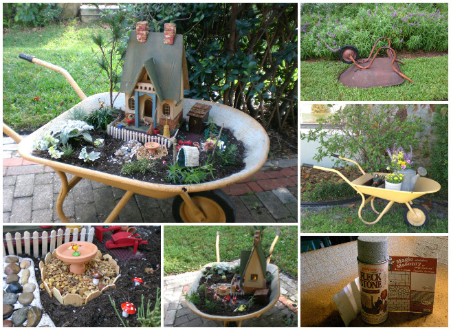 diy miniature wheelbarrow fairy garden ideas with tutorial