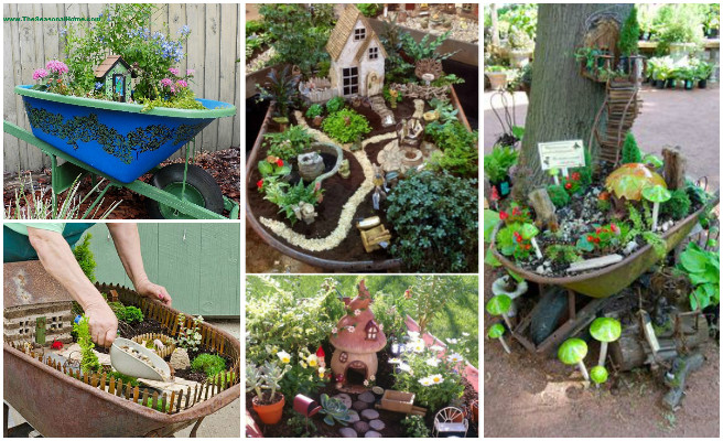 DIY Wheel Barrow Fairy Garden Ideas Tutorials Instruction Video