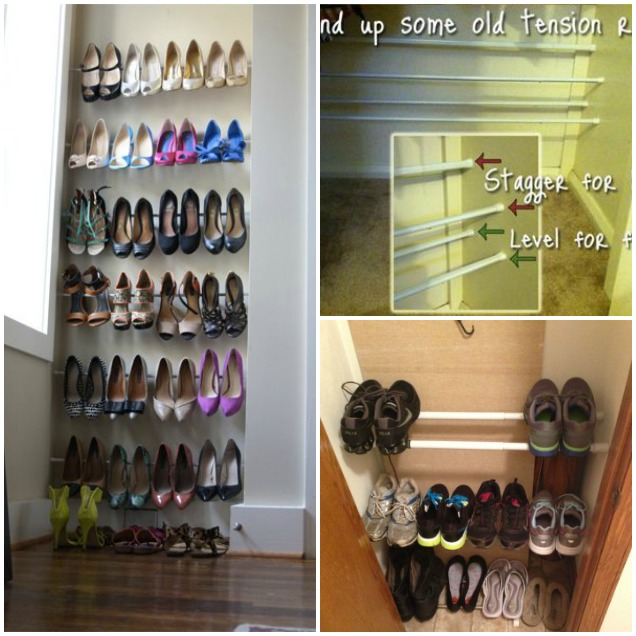 Tension Rod Shoe Rack DIY