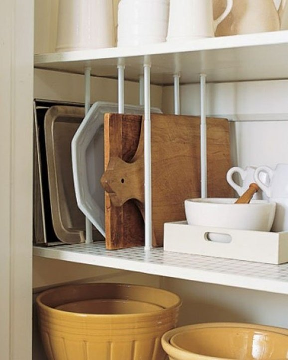 Tension Rod Uses to Keep Home Organized- Kitchen Cabinet Shelf Segment