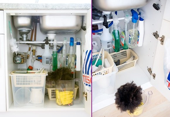 Tension Rod Uses to Keep Home Organized- Organize Cleaning Supply Under Sink
