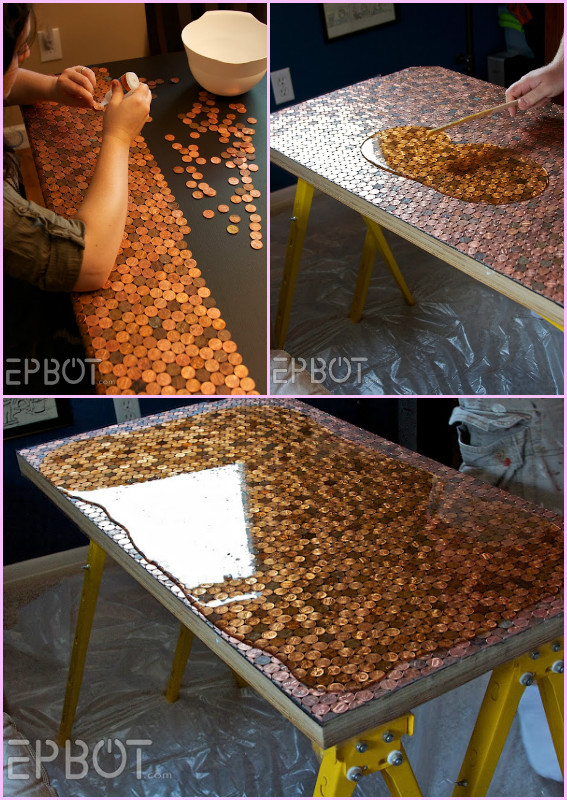 20 DIY Hacks To Decorate Home And Garden With Pennies  DIY Epoxy Treated  Penny Tiled