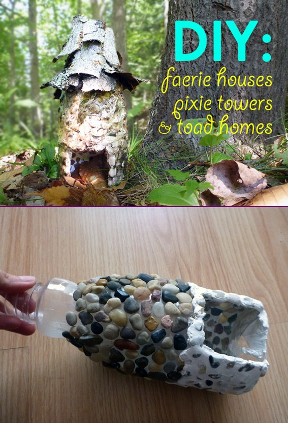 DIY Forest Stone Fairy House Pixie Tower from Plastic Bottle Tutorial