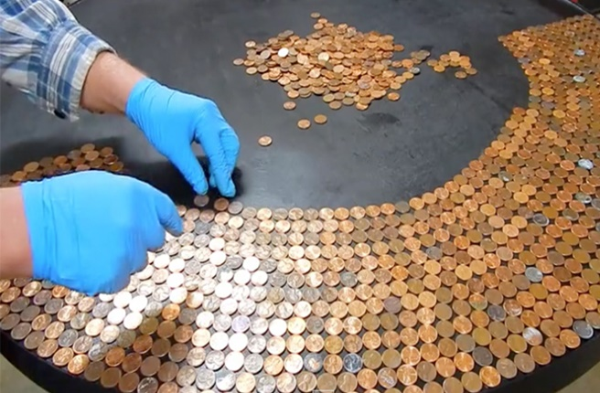 DIY Penny Table Top Project Tutorials - Glaze Coated with Epoxy Tutorial