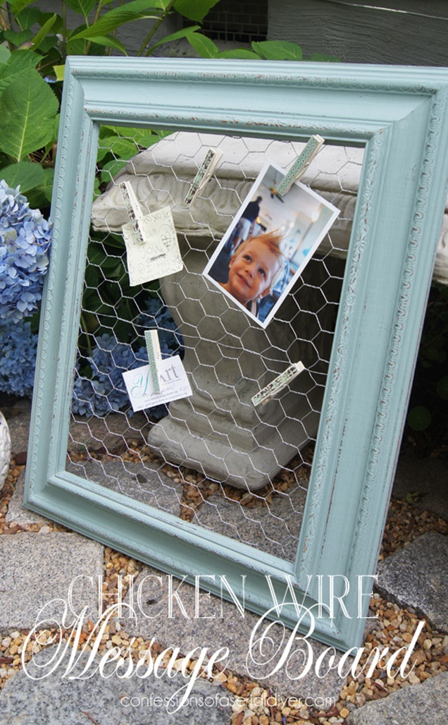 DIY Picture Frame Chicken Wire Message Board Tutorial