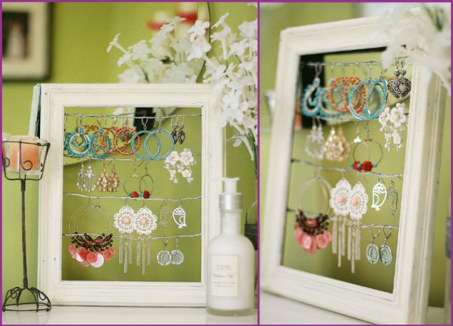 DIY Picture Frame Earring Jewelry Display Tutorial