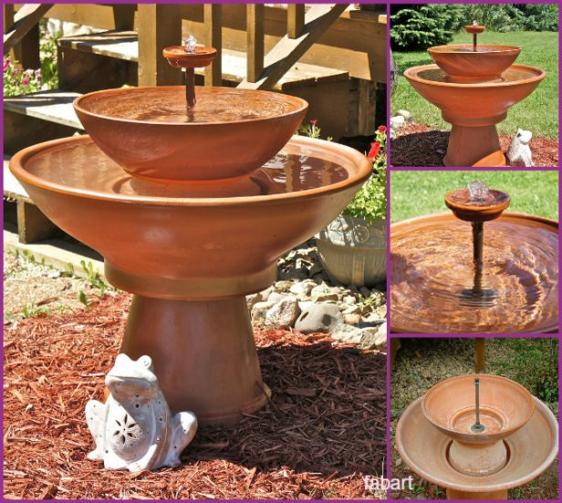Garden Fountain-DIY TerraCotta Clay Pot Fountain Projects Tutorials