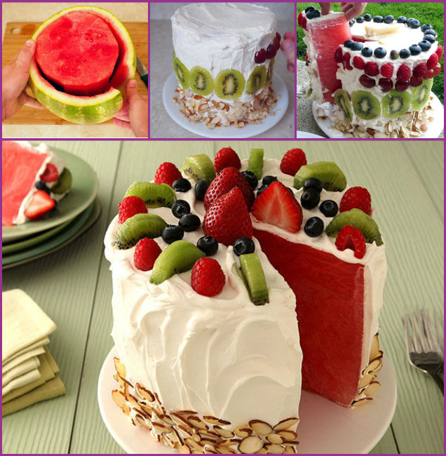 DIY Watermelon Cake Tutorial