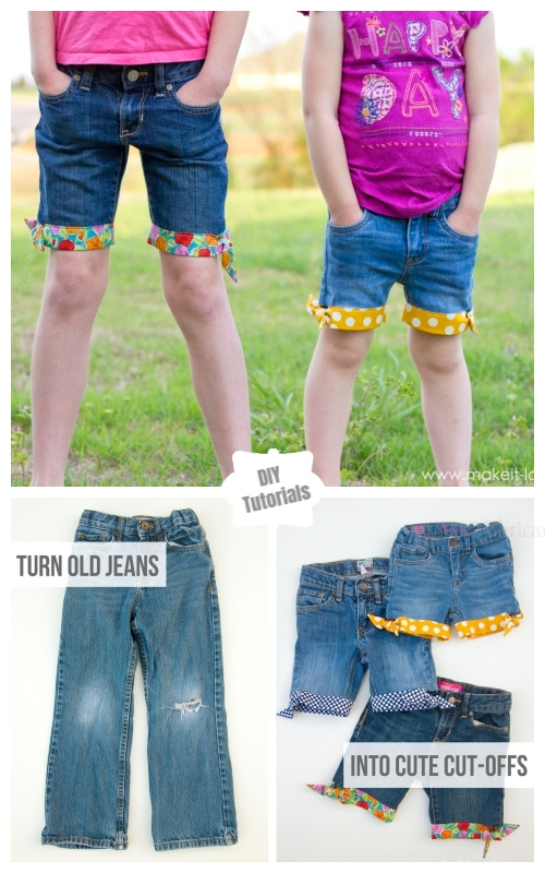 Refashion Hack- Turn Worn Jeans into DIY Cut Off Jean Shorts Tutorials -  Summer Style Cut Off Jean Shorts DIY Tutorial