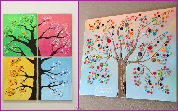 10 Fabulous Ways to Decorate Your Empty Wall-Button Tree Canvas