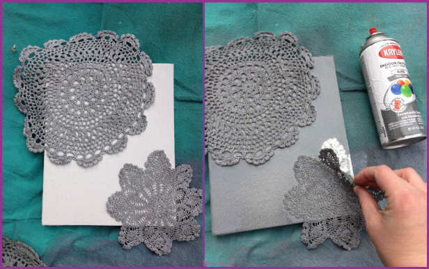 10 Fabulous Ways to Decorate Your Empty Wall-lace doily spay paint canvas