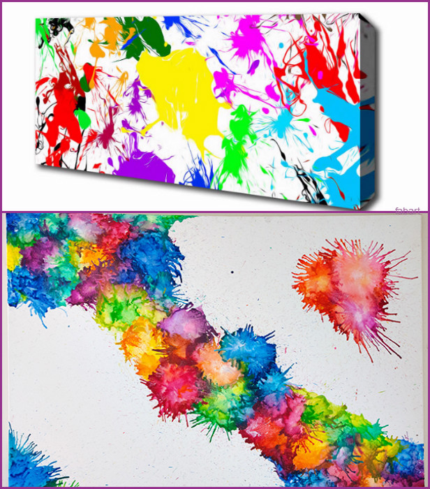 10 Fabulous Ways to Decorate Your Empty Wall-DIY Paint Splash Wall Canvas
