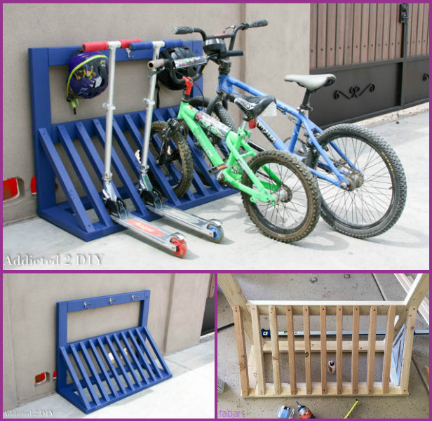 DIY Bike Rack Storage Solutions-Wood Bicycle Rack with Hamlet Hook Tutorial