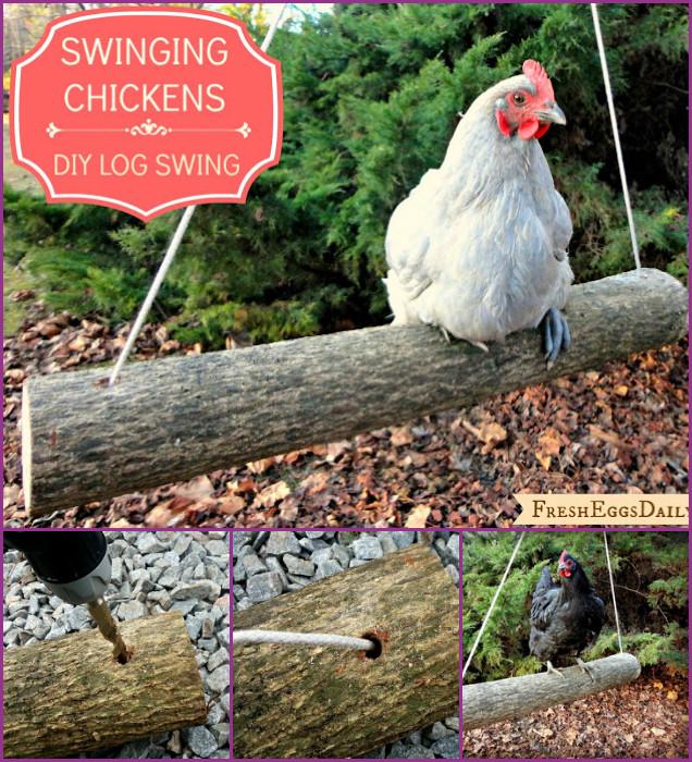 DIY Log Chicken Swing Tutorial