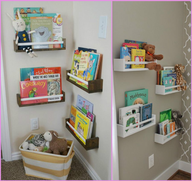 DIY Organization Hacks to Use IKEA Spice Racks as Wall Bookshelf Library