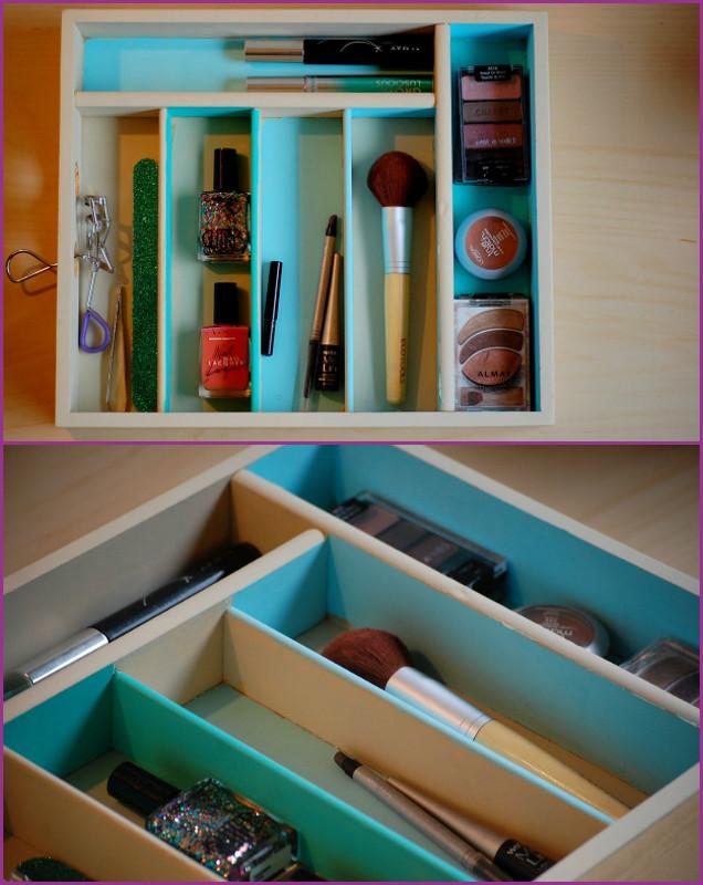 DIY Silverware Tray Makeup Organizer-Alternative Uses of Cutlery Tray