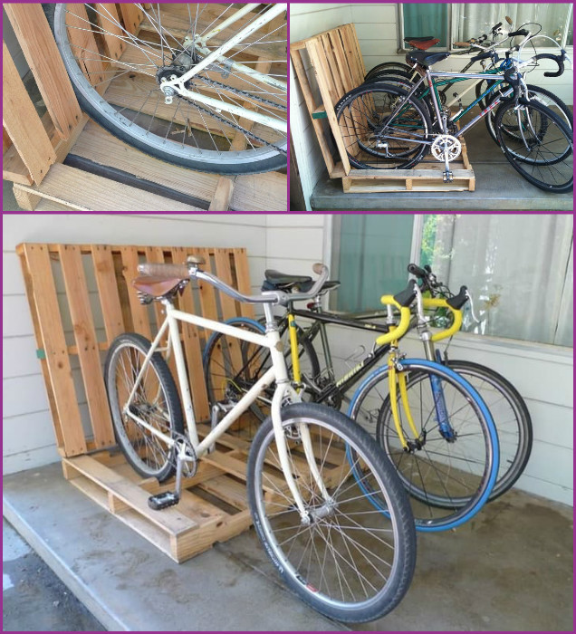 DIY Simple Pallet Bike Rack Storage Solutions