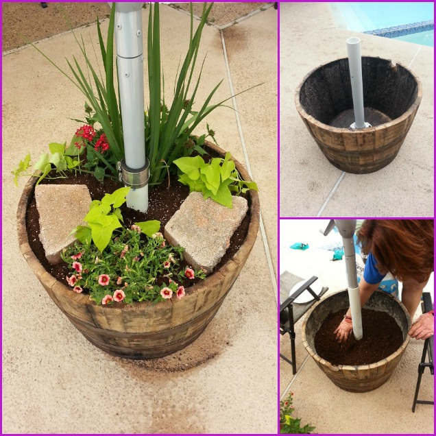 Diy Wood Barrel Umbrella Planter Stand Tutorial